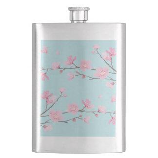 Cherry Blossom - Sky Blue Hip Flask