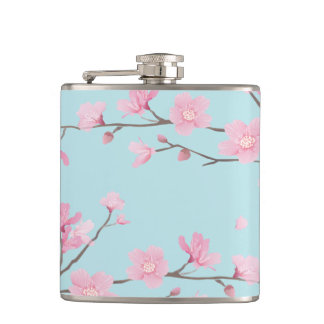 Cherry Blossom - Sky Blue Hip Flask