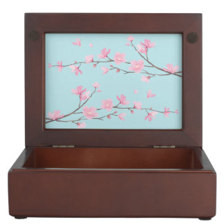 Cherry Blossom - Sky Blue Keepsake Box