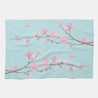 Cherry Blossom - Sky Blue Kitchen Towel