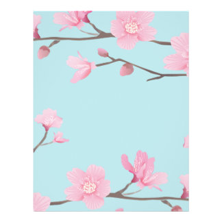 Cherry Blossom - Sky Blue Letterhead