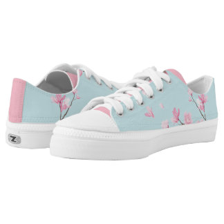 Cherry Blossom - Sky Blue Low-Top Sneakers