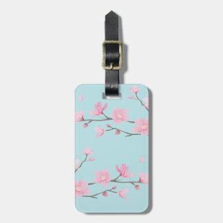 Cherry Blossom - Sky Blue Luggage Tag