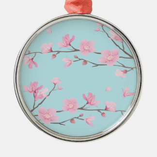 Cherry Blossom - Sky Blue Metal Ornament
