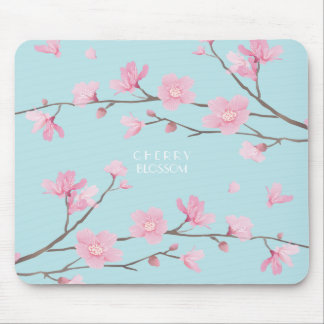 Cherry Blossom - Sky Blue Mouse Pad