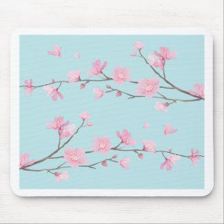 Cherry Blossom - Sky Blue Mouse Pad