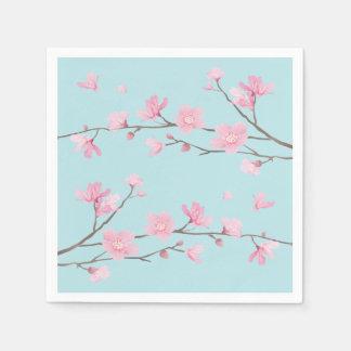 Cherry Blossom - Sky Blue Paper Napkin