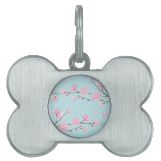 Cherry Blossom - Sky Blue Pet Tag
