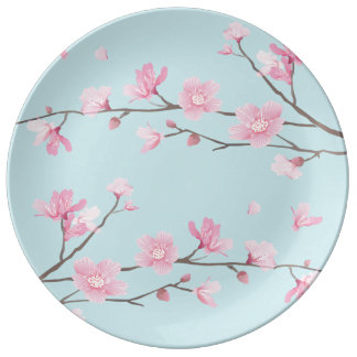 Cherry Blossom - Sky Blue Plate