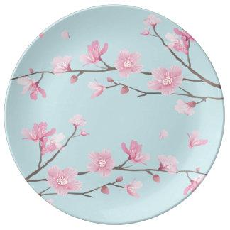 Cherry Blossom - Sky Blue Porcelain Plates