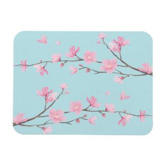 Cherry Blossom - Sky Blue Rectangular Photo Magnet