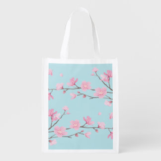 Cherry Blossom - Sky Blue Reusable Grocery Bag