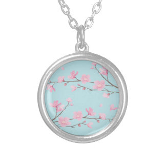 Cherry Blossom - Sky Blue Silver Plated Necklace