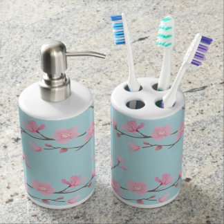 Cherry Blossom - Sky Blue Soap Dispenser And Toothbrush Holder
