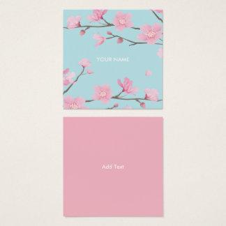 Cherry Blossom - Sky Blue Square Business Card