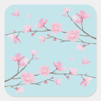 Cherry Blossom - Sky Blue Square Sticker