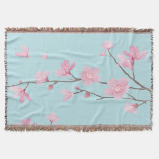 Cherry Blossom - Sky Blue Throw Blanket