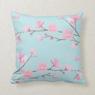 Cherry Blossom - Sky Blue Throw Pillow