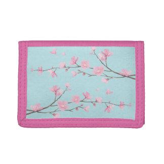 Cherry Blossom - Sky Blue Tri-fold Wallet