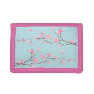 Cherry Blossom - Sky Blue Tri-fold Wallets