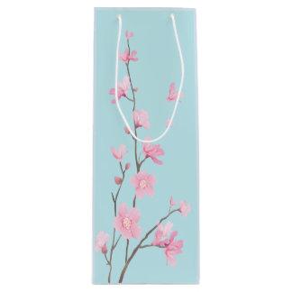 Cherry Blossom - Sky Blue Wine Gift Bag