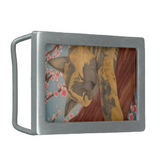 Cherry Blossom Sleeping Cat Belt Buckle