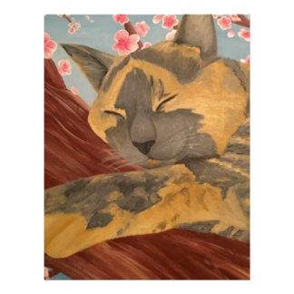 Cherry Blossom Sleeping Cat Letterhead