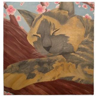 Cherry Blossom Sleeping Cat Napkin