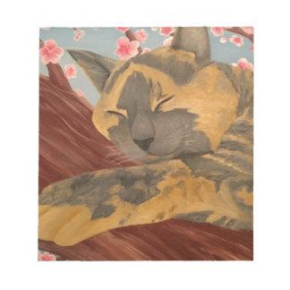 Cherry Blossom Sleeping Cat Notepad