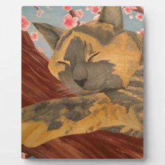 Cherry Blossom Sleeping Cat Plaque