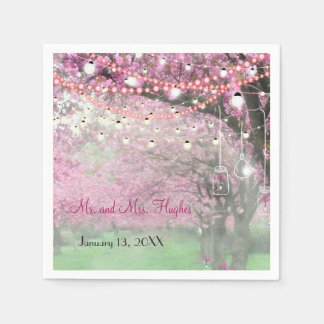 Cherry blossom spring themed wedding paper napkins