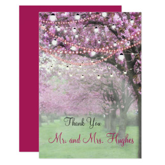 Cherry blossom spring themed wedding thank you card