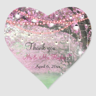 Cherry blossom spring themed wedding thank you heart sticker