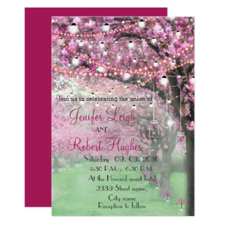 Cherry blossom spring wedding card