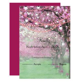 Cherry blossom spring wedding RSVP Card