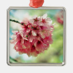 Cherry Blossom Square Metal Christmas Ornament