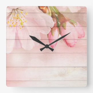 Cherry Blossom Square Wall Clock