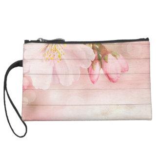 Cherry Blossom Suede Wristlet