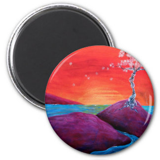 Cherry Blossom Sunset 2 Inch Round Magnet