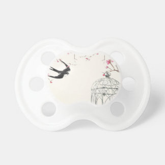 Cherry blossom, swallow, birdcage design pacifiers