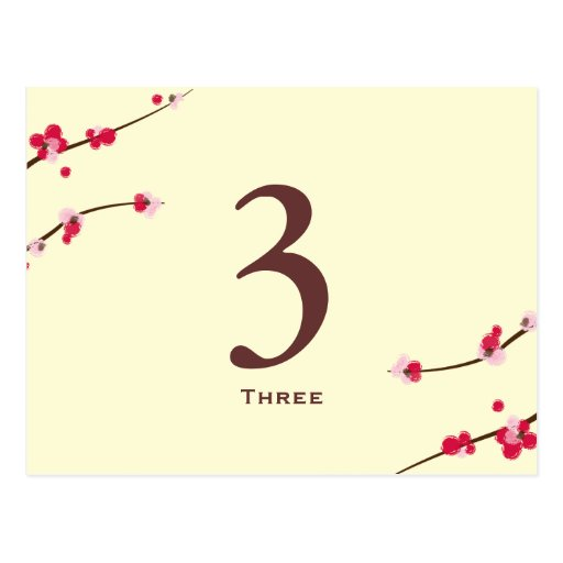 Cherry Blossom Table Number Card Postcards