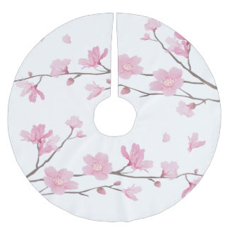 Cherry Blossom - Transparent Background Brushed Polyester Tree Skirt