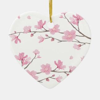 Cherry Blossom - Transparent-Background Ceramic Ornament