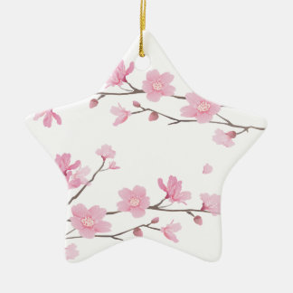 Cherry Blossom - Transparent-Background Ceramic Star Ornament