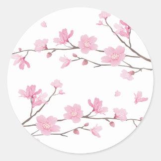 Cherry Blossom - Transparent-Background Classic Round Sticker