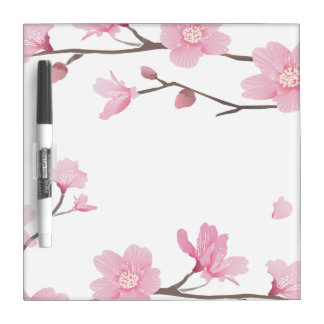 Cherry Blossom - Transparent Background Dry Erase Whiteboards