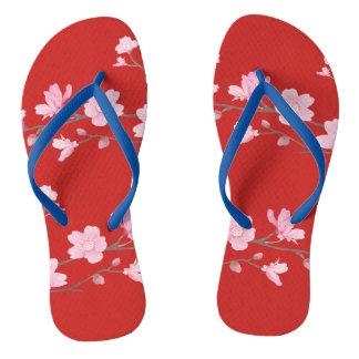 Cherry Blossom - Transparent Background Flip Flops