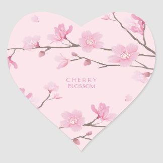Cherry Blossom - Transparent-Background Heart Sticker