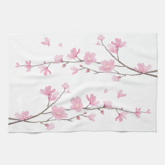 Cherry Blossom - Transparent Background Kitchen Towel