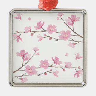 Cherry Blossom - Transparent-Background Metal Ornament